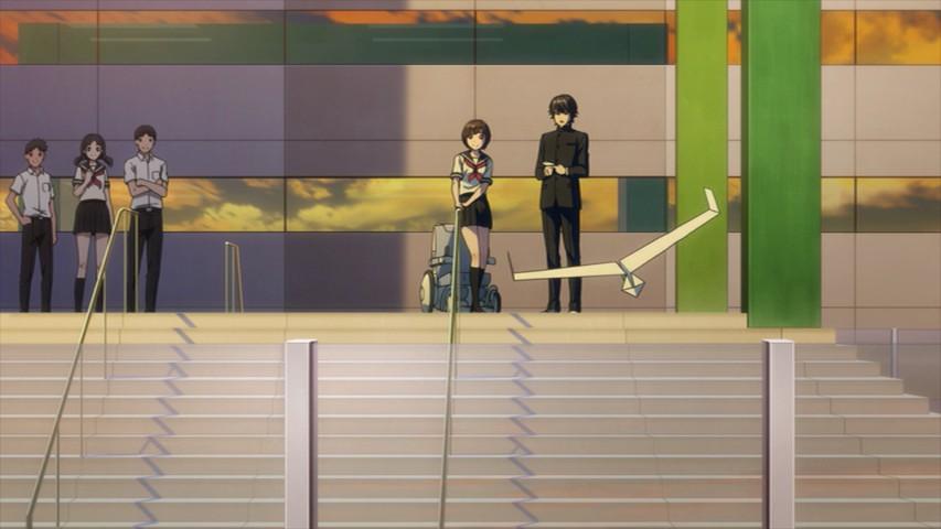 神崎雄哉が飛ばした紙ヒコーキが校庭を飛んでいる「A.I.C.O.」の画像